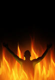 Man in Hell. Human person must burn in the fire Stock Photo