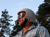 Man with a helmet royalty free stock photo
