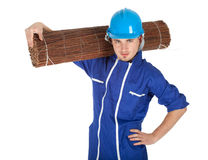 Man in helmet and coveralls with wicker mat Royalty Free Stock Photo