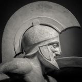 Man in helmet Greek ancient sculpture of warrior Royalty Free Stock Images