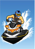 Man With Helmet on jet Ski. On the lake vector illustration Royalty Free Stock Photography