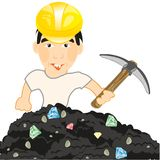 Man with instrument pickax searches for jewels. Man in helmet and with pickax gains jewels in soil royalty free illustration