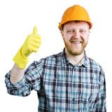 Man in a helmet are showing that all is well Stock Images