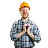 Man in a helmet showing hands heart Stock Images