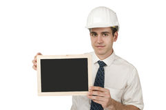 Man with helmet and to do board Royalty Free Stock Images
