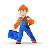 Man in a helmet and tools. Builder, a man in a helmet and tools,  illustration Royalty Free Stock Photos