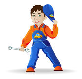 Man in a helmet and tools. Builder, a man in a helmet and tools,  illustration Stock Image