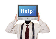 Man with Help tv screen for head Royalty Free Stock Photo