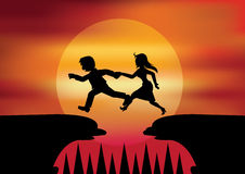Man helped women to Jumping across the chasm. It's for concept Jumping across the difficulty Stock Image