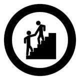 Man helping climb other man black icon in circle. Vector illustration isolated royalty free illustration