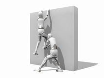 Man helping other to climb a wall. Crash test dummy helping other man to climb a wall over a white background Royalty Free Stock Photo