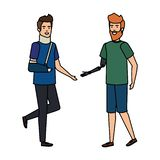 Man helping person with orthopedic collar and plastered arm. Vector illustration vector illustration