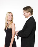 Man helping woman Royalty Free Stock Photo
