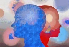 Man het silhouet van het vrouwenpaar ziet artistiek beeld onder ogen royalty-vrije illustratie
