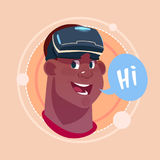 Man Hi African American Male Emoji Wearing 3d Virtual Glasses Emotion Icon Avatar Facial Expression Concept. Vector Illustration Royalty Free Stock Photo
