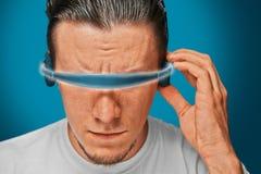 Man in hi-tech glasses Stock Image