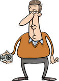 Man and hidden camera cartoon Royalty Free Stock Images