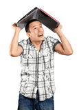 Man Hides Under The Laptop Royalty Free Stock Images