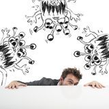 Man hides virus. Man hides fearful of the flu virus Royalty Free Stock Photo