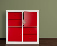 Man hiding in the cabinet Royalty Free Stock Image