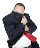 Man hiding his face. On isolated background Royalty Free Stock Photos