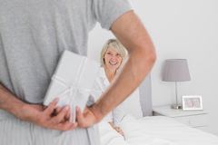 Man hiding present behind his back for smiling partner Royalty Free Stock Image