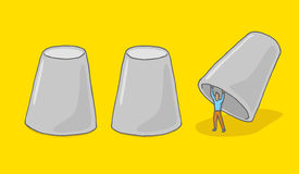 Man hiding under cups game Royalty Free Stock Image