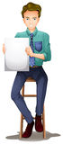 A man on a high chair with an empty signboard Stock Photo