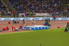 Man at high jump on Diamond League. In Rome, Italy in 2016 royalty free stock photo