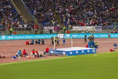 High jump. Man at high jump on Diamond League in Rome, Italy in 2016 Stock Photography