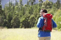 Man On Hike In Beautiful Countryside Stock Photos
