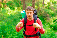 Man in a hike Stock Photos