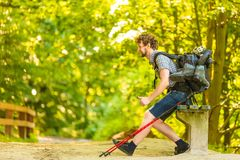 Man hiker with backpack resting on bench in forest trail Royalty Free Stock Photography