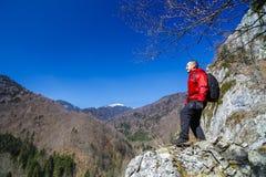 Man hiker enjoying Royalty Free Stock Photo