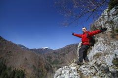 Man hiker enjoying Stock Photos