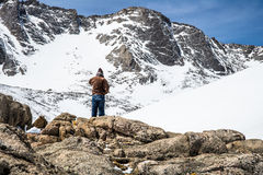 Man Hiker Overlooking Mount Evans Summit - Colorado Royalty Free Stock Images