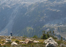 Man Hiking Above Callaghan Valley. Man hiking in the Callaghan Valley. British Columbia. Canada Royalty Free Stock Image