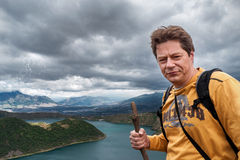 Man hiking in the Andes Stock Image