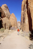 Man Hiking in Arches National Park, Utah Royalty Free Stock Photography