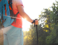 Man hiking with backpac and sticks in mountains Stock Photography