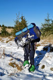 Man hiking with backpack Royalty Free Stock Images