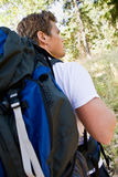 Man hiking with backpack Stock Image