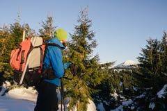 Man hiking in beautiful winter mountain Stock Images