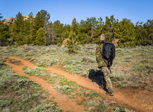 A man hiking in camouflage outfit discovering nature in the forest with DSLR photo camera, lenses, tripod in the backpack. Travel Stock Images