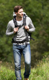Man Hiking In Countryside Stock Photography