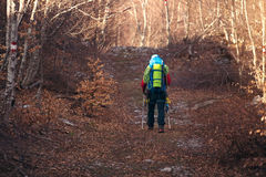 Man hiking descend to the mountain. Autumn Stock Images