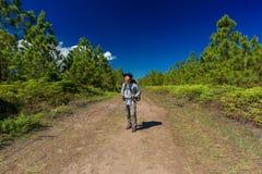 Man with hiking equipment Stock Photo