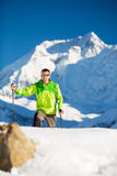 Man hiking explore in Himalaya Mountains in Nepal Stock Images