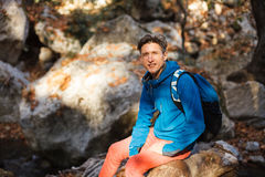 Man hiking in the forest royalty free stock photo