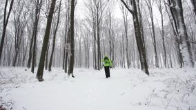 Man hiking in the forest during a winter day. stock footage
